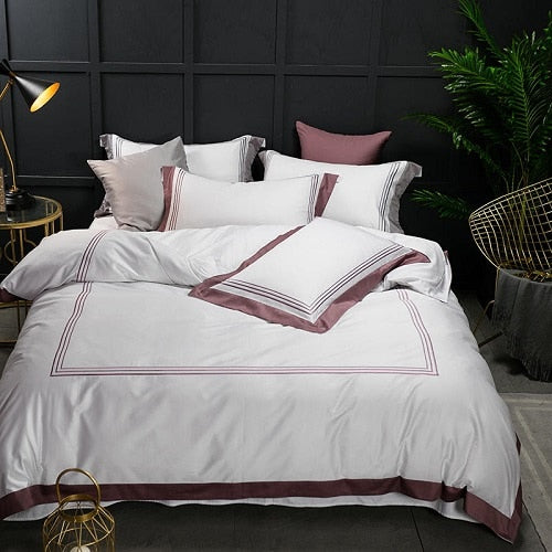 Nalva Luxury White 100%Cotton Duvet Cover Set - Venetto Design5 / King size 4pcs / Fitted sheet style