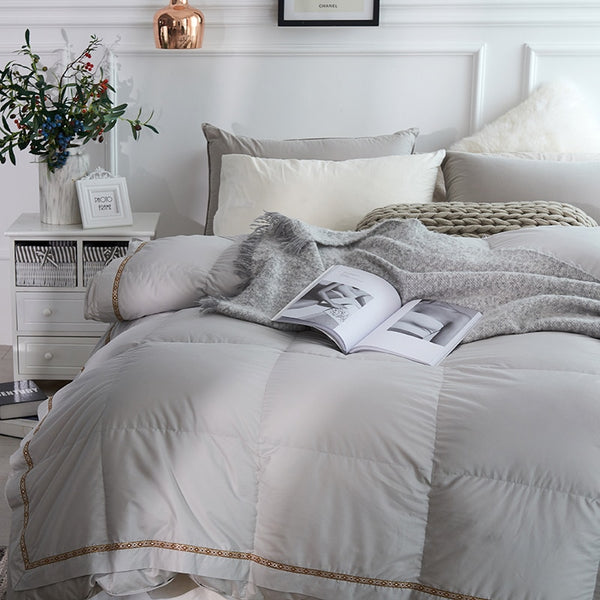 Taavi Embellished Border Quilted Cotton 100% Goose Down Comforter - Venetto Design