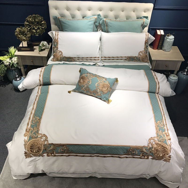 Palazzo Oriental Embroidered Luxury Egyptian Cotton Duvet Cover Set - Venetto Design1 / King size 4pcs