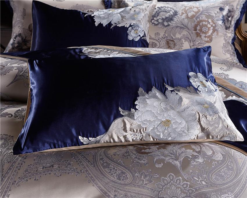 Impero Blue Silver Silk Cotton Jacquard Luxury Chinese Duvet Cover Set - Venetto Design