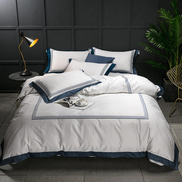 Nalva Luxury White 100%Cotton Duvet Cover Set - Venetto Design3 / King size 4pcs / Fitted sheet style