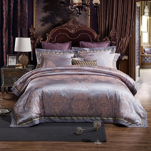 Taha Ornamental Motif Printed Satin Jacquard Duvet Cover Set - Venetto Designbedding set 14 / Queen size 4pcs