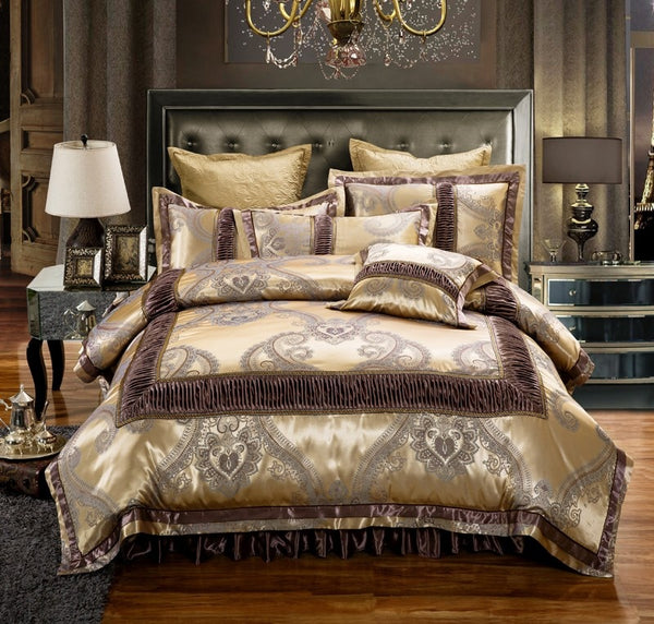 Dhahab Luxury Ruched Jacquard Edge Cotton Satin Duvet Cover Set - Venetto Design