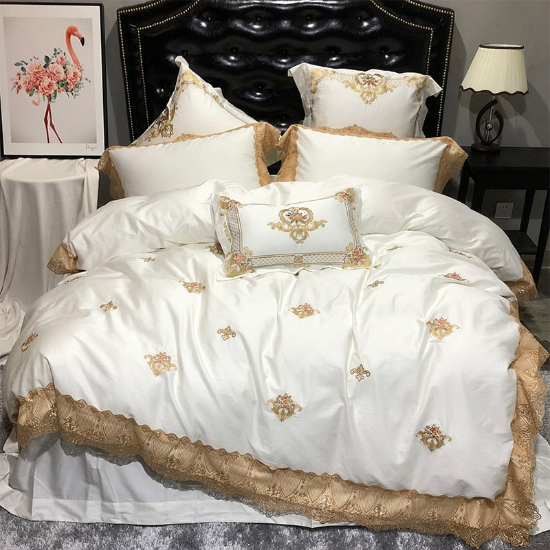 Karlena Oriental Egyptian cotton Embroidery Luxury Royal Duvet Cover Set - Venetto Designwhite bed set / King size 4pcs