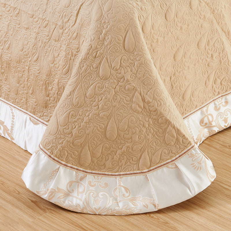 Bellor Beige Embroidered Cotton Stain Jacquard Luxury Duvet Cover Set - Venetto Design