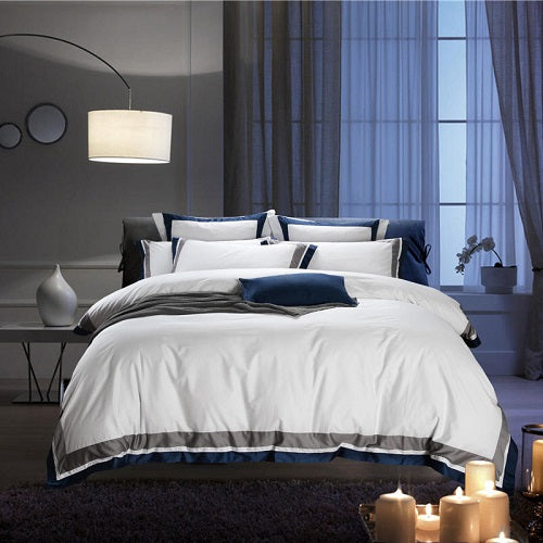Nalva Luxury White 100%Cotton Duvet Cover Set - Venetto Design15 / King size 4pcs / Fitted sheet style