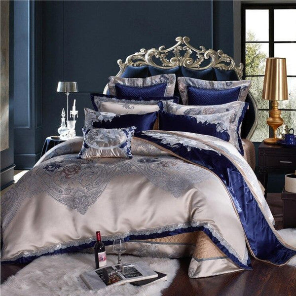 Impero Blue Silver Silk Cotton Jacquard Luxury Chinese Bedding Set