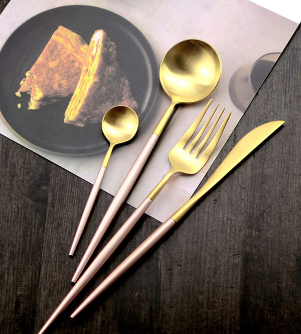 Flatware Arya Pink Gold Cutlery Set - Venetto Design