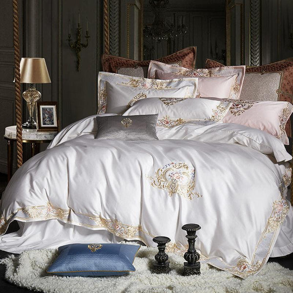 Pheliza White Egyptian Cotton Premium Luxury Duvet Cover Set - Venetto Design