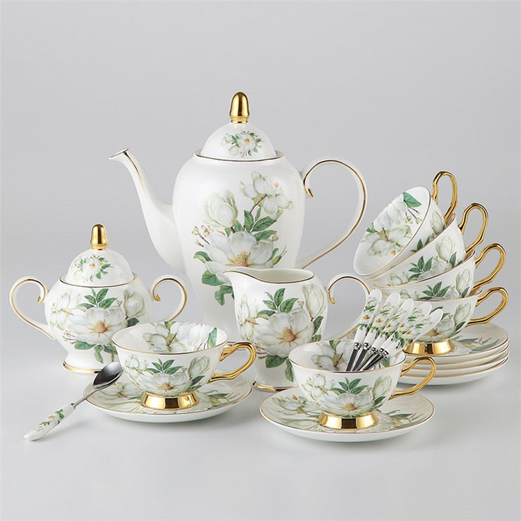Floreziya Ceramic Bone China Tea/Coffee Set - Venetto DesignFull Set