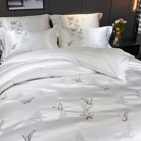 Mazeyna White Silver Silk Cotton Luxury Butterfly Duvet Cover set - Venetto Design