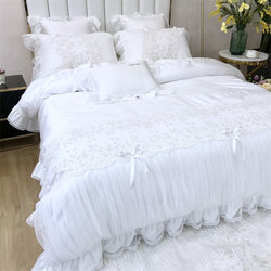 Halia Scalloped Edge Lace Duvet Cover Set - Venetto Design