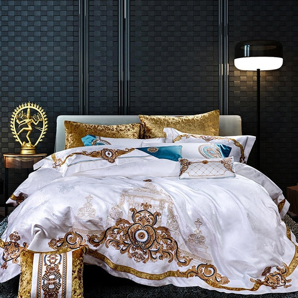 Evaria Satin Cotton Luxury Royal Duvet Cover Set - Venetto Designbedding set 1 / King size 10pcs