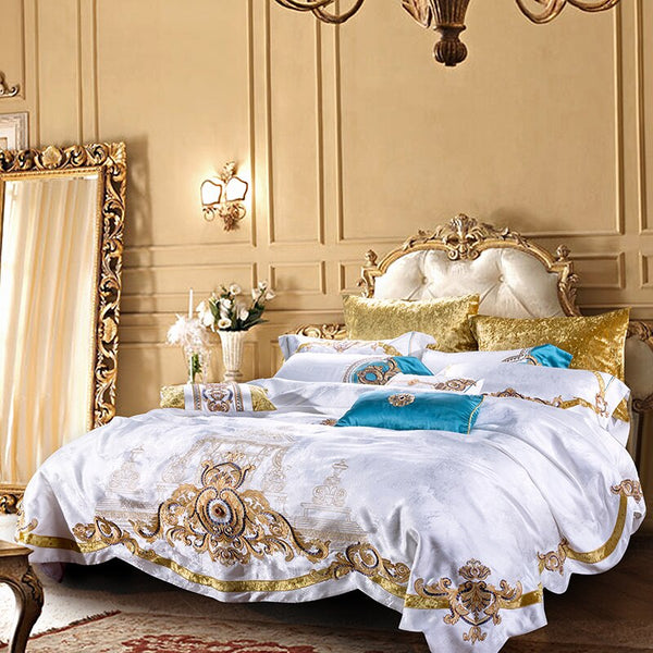 Evaria Satin Cotton Luxury Royal Duvet Cover Set - Venetto Design