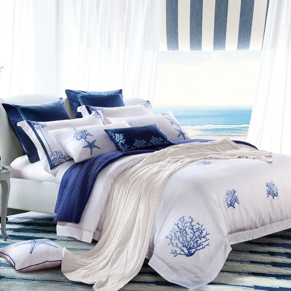 Amellora Egyptian Cotton Embroidered Tribute Silk Duvet Cover Set - Venetto Design