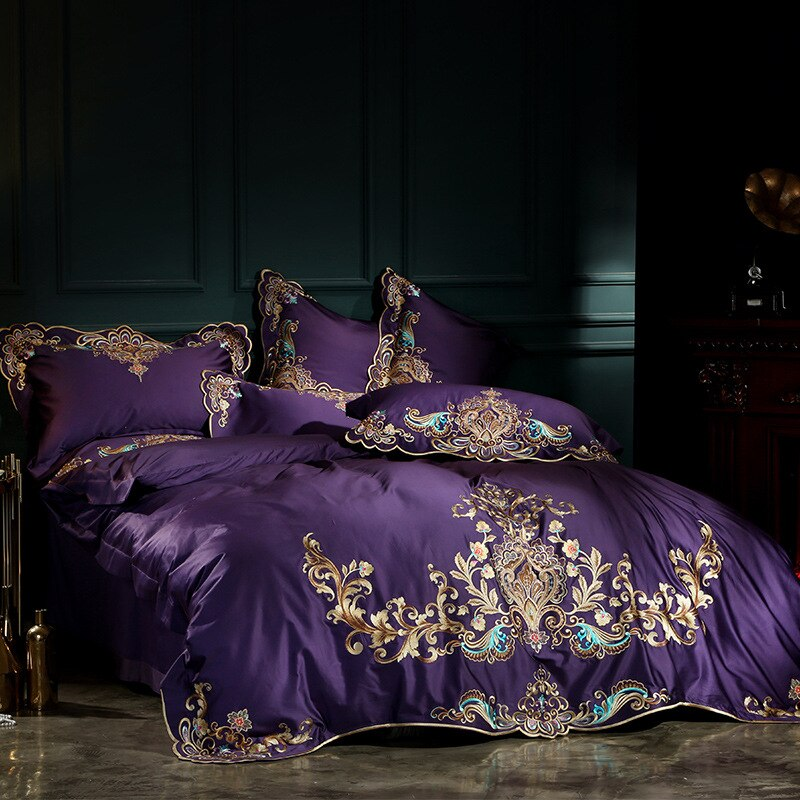 Umeyra Luxury Oriental Embroidery Egyptian Cotton Royal Duvet Cover Set - Venetto Design
