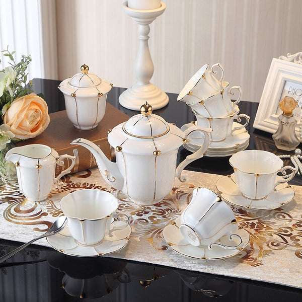 Vittoria British Gold Pearl Bone China Tea/Coffee Set - Venetto Design
