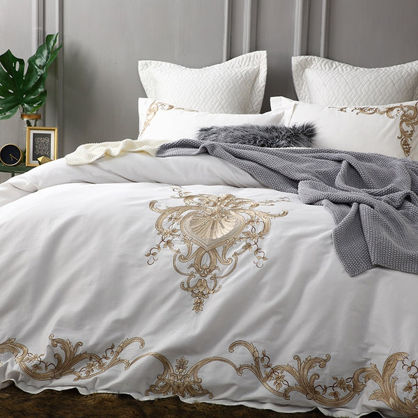 Jumeirah Printed And Embroidered Egyptian Cotton Duvet Cover Set - Venetto Design