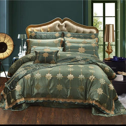 Lanera Luxury Silky Cotton Satin Jacquard Duvet Cover Set - Venetto Design1 / King size 10Pcs