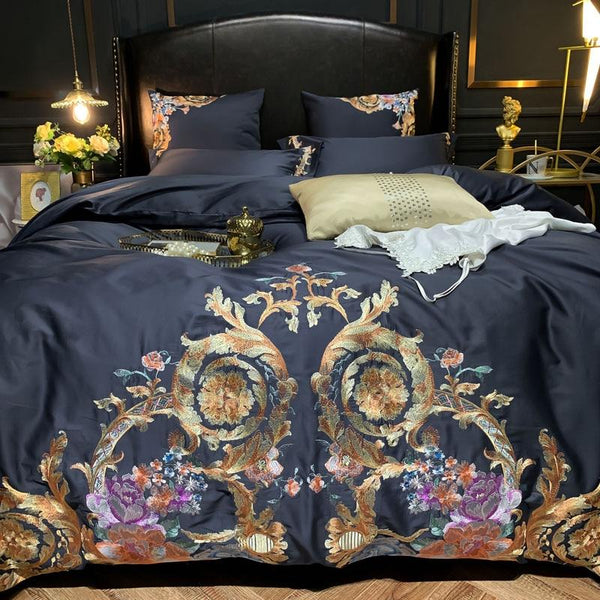 Leroux Black Egyptian Cotton Premium Embroidery Duvet Cover Set - Venetto Design