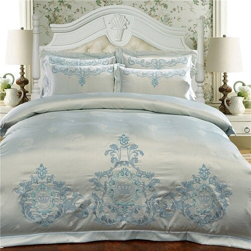 Milessa Silver Cotton Chinese Embroidery Duvet Cover Sets - Venetto Design3 / King size 4pcs