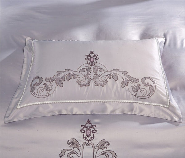 Milessa Silver Cotton Chinese Embroidery Duvet Cover Sets - Venetto Design