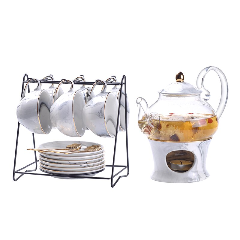 Rimiero Marbling Porcelain Tea/Coffee Set with Candler