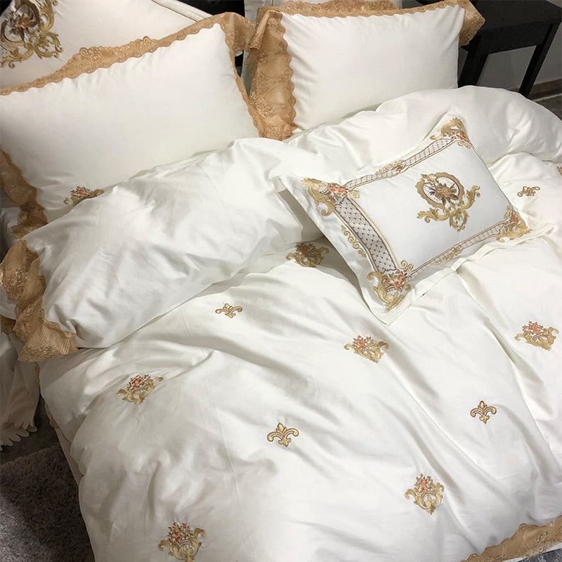 Karlena Oriental Egyptian cotton Embroidery Luxury Royal Duvet Cover Set - Venetto Design