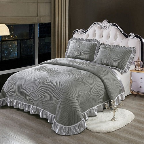 Aabirah Wide Ruffled Edge 100% Cotton Bedspread Set - Venetto Design5 / 230X250 cm 3pcs