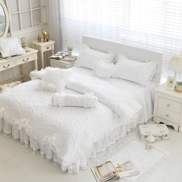 Amani Double-Layered Ruffled Cotton Lace Duvet Cover Set - Venetto Design