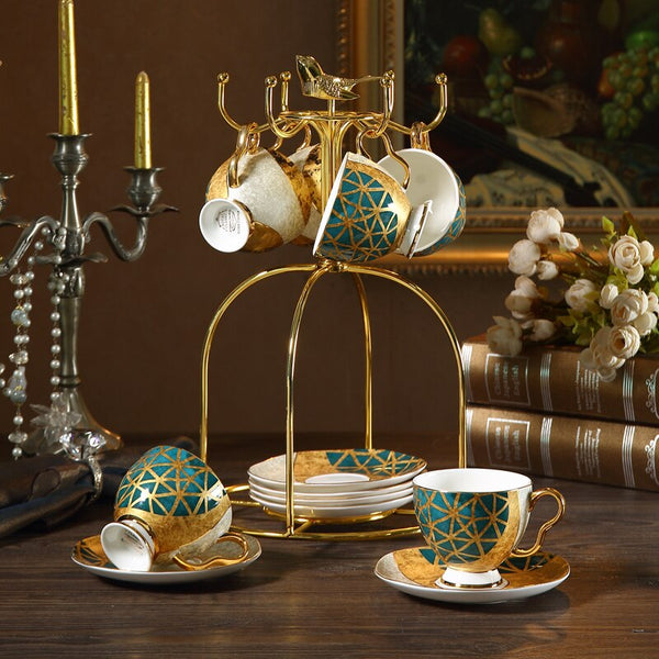 Luxury Bone China Tea Cup Saucer Spoon Set 250ml Coffee Cup Gold Porcelain Tea Set Ceramic Teacup Cafe Espresso Cup Dropship