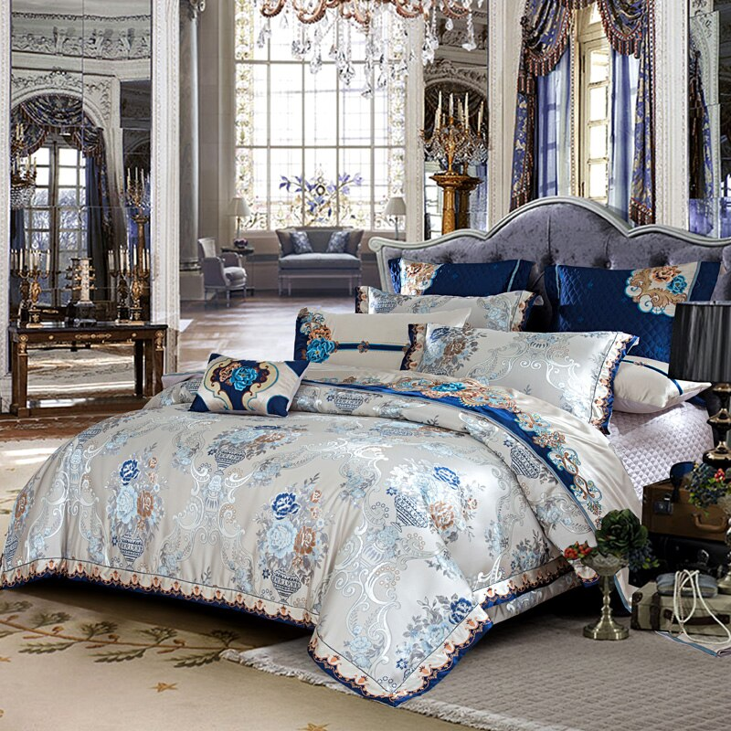 Kaleyra Silver Golden Silk Satin Cotton Duvet Cover Set - Venetto Design