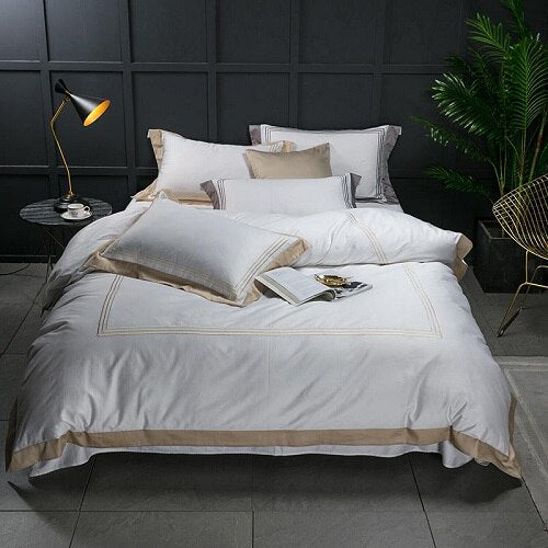 Nalva Luxury White 100%Cotton Duvet Cover Set - Venetto Design4 / King size 4pcs / Fitted sheet style
