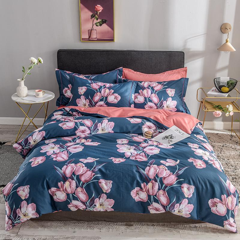 Bellia Floral Leaves Printed Egyptian Cotton Duvet Cover Set