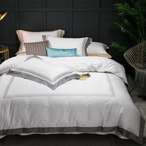 Nalva Luxury White 100%Cotton Duvet Cover Set - Venetto Design1 / King size 4pcs / Fitted sheet style