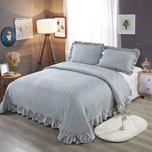 Aabirah Wide Ruffled Edge 100% Cotton Bedspread Set - Venetto Design4 / 230X250 cm 3pcs