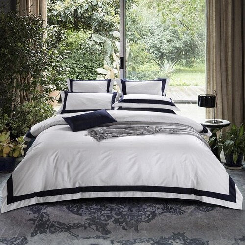 Nalva Luxury White 100%Cotton Duvet Cover Set - Venetto Design12 / King size 4pcs / Fitted sheet style