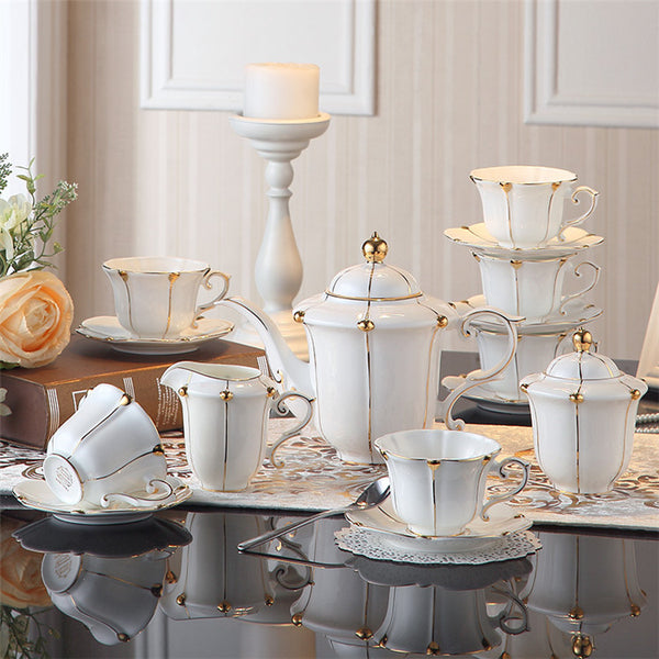 Vittoria British Gold Pearl Bone China Tea/Coffee Set - Venetto DesignFull Set