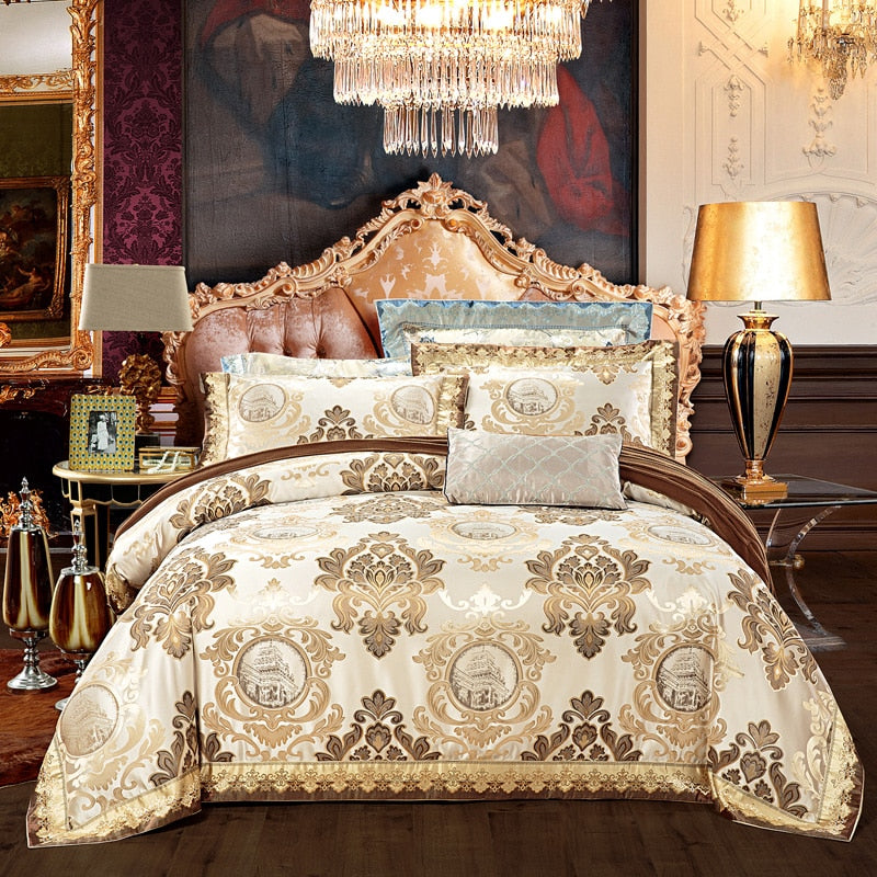Anorfa European style golden jacquard satin luxury bedding sets