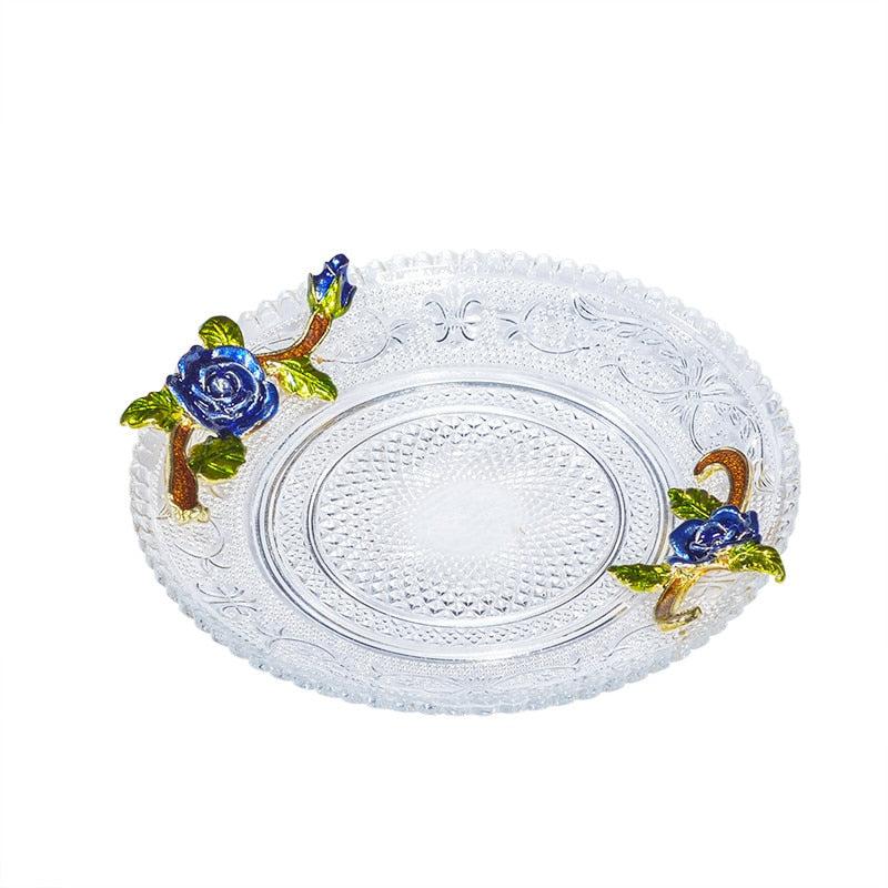 Blue Rose Cup - Venetto Design6 Glass trays