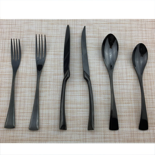 Jet Black Flatware Full Set - Venetto Design