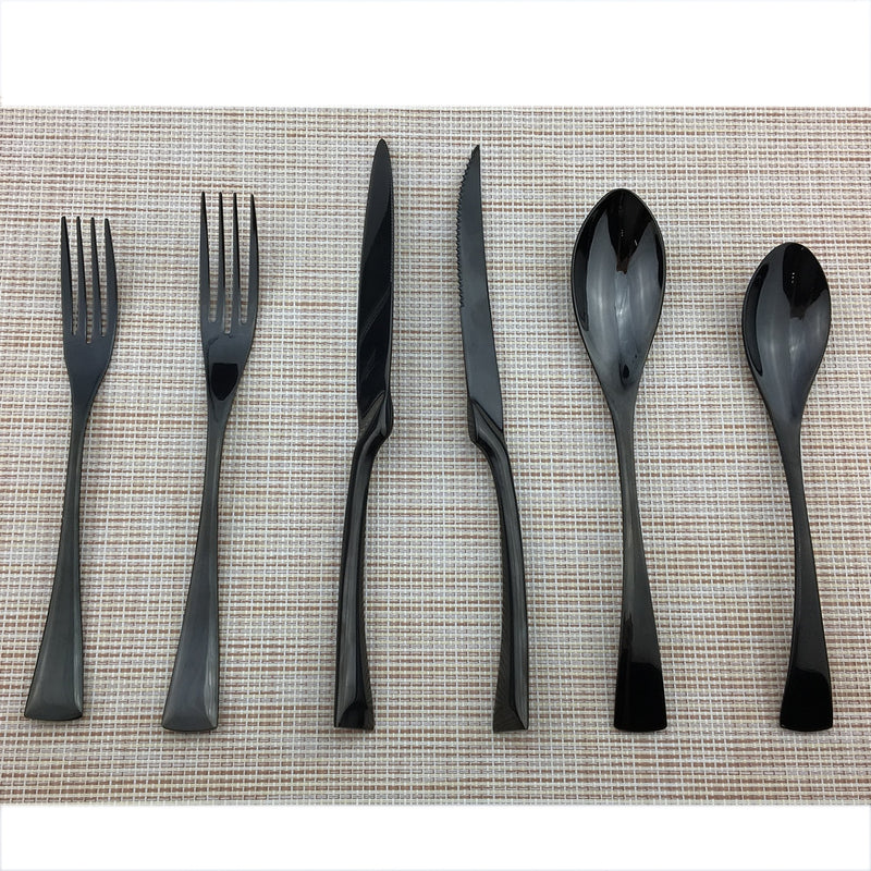 Flatware Jet Black Cutlery Full Set - Venetto Design36 Pieces Set