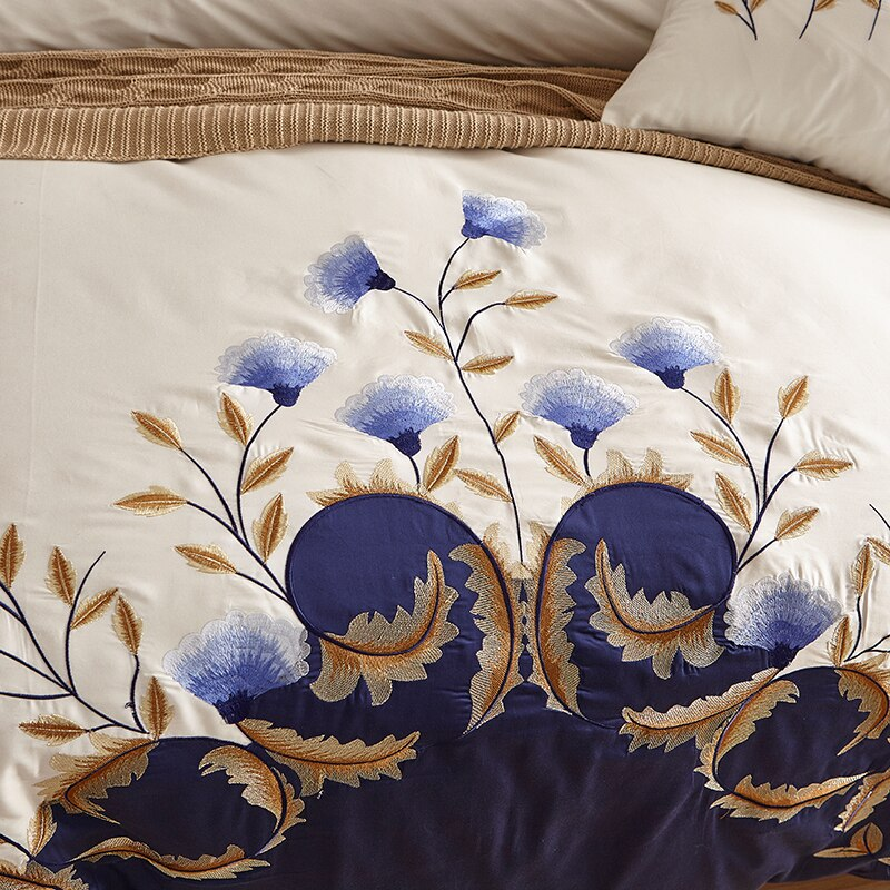 Zaydena Luxury Embroidered Egyptian Cotton Duvet Cover Set - Venetto Design