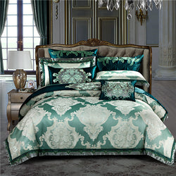 Verdariy Luxury Satin Egyptian Cotton Royal Duvet Cover Set - Venetto Design1 / King size 10Pcs