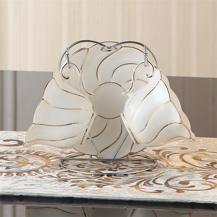 Benedicta Porcelain Gold Inlay Bone China Tea Set - Venetto Design2Cups n Holder