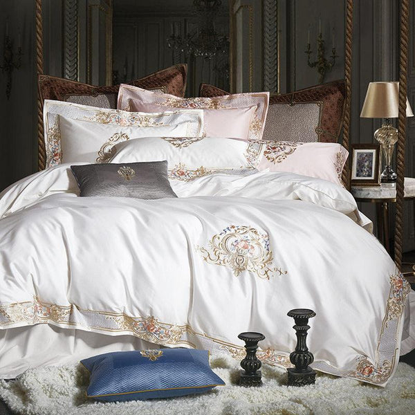 Pheliza White Egyptian Cotton Premium Luxury Duvet Cover Set - Venetto DesignKing / 4 Pieces