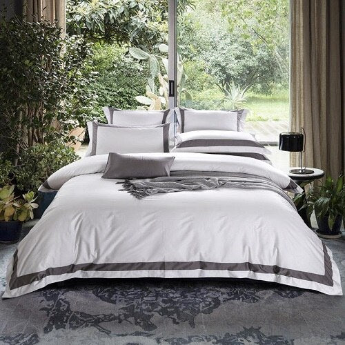Nalva Luxury White 100%Cotton Duvet Cover Set - Venetto Design10 / King size 4pcs / Fitted sheet style
