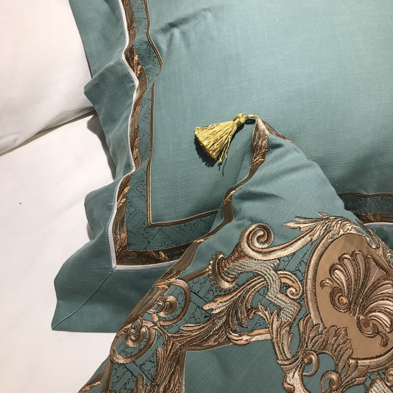 Palazzo Oriental Embroidered Luxury Egyptian Cotton Duvet Cover Set - Venetto Design