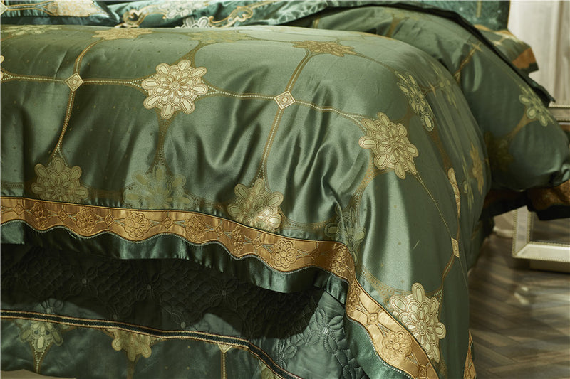 Lanera Luxury Silky Cotton Satin Jacquard Duvet Cover Set - Venetto Design