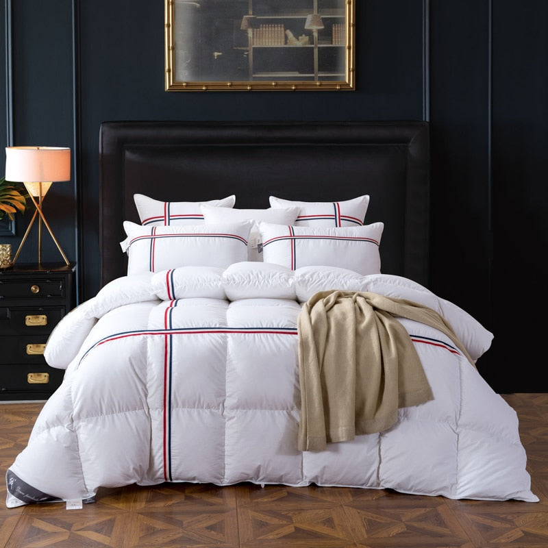 Ghaith Tri-Striped Goose Down 100% Cotton Comforter - Venetto Design